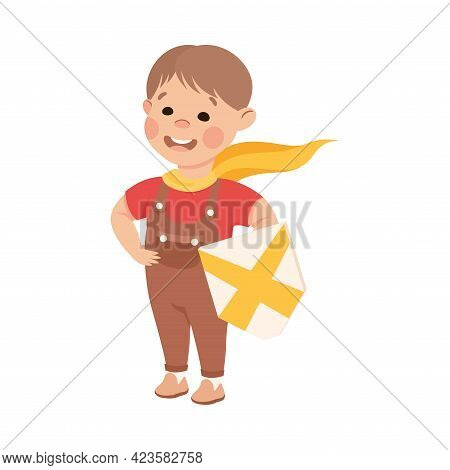 Kind And Fair Little Boy Holding Shield Doing Justice Vector Illustration