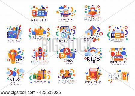 Set Of Kids Club Logo Templates Original Design, Kids Land Colorful Labels, Badges Flat Vector Illus
