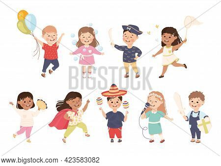 Set Of Cute Boys And Girls Performing Activities Or Doing Hobbies, Adorable Kids Leisure Activity Co