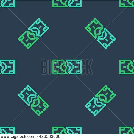 Line Tearing Apart Money Banknote Into Two Peaces Icon Isolated Seamless Pattern On Blue Background.