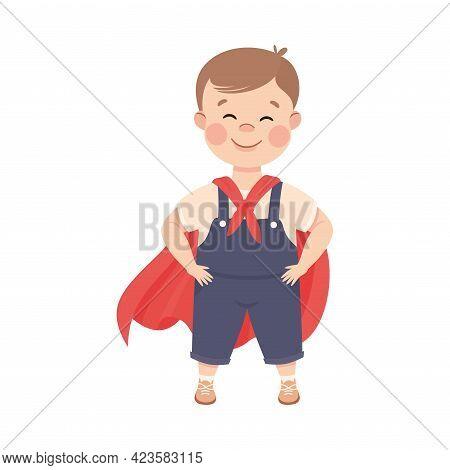 Cute Boy Dressed Like Superhero, Adorable Kid Leisure Activity Concept Cartoon Vector Illustration