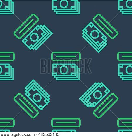 Line Atm - Automated Teller Machine And Money Icon Isolated Seamless Pattern On Blue Background. Vec