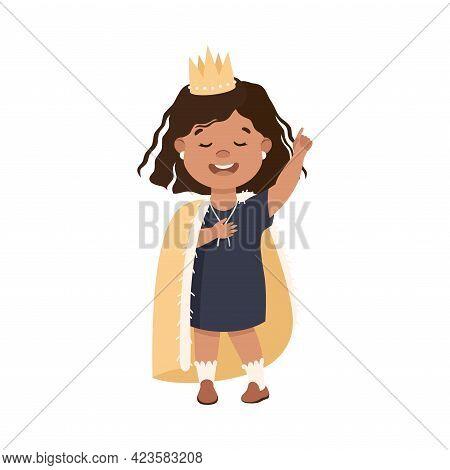 Cute Girl Playing Princess, Adorable Kid Leisure Activity Concept Cartoon Vector Illustration