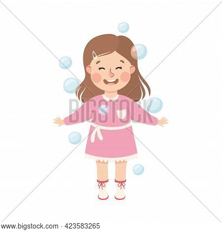 Cute Girl Playing Soap Bubbles, Adorable Kid Leisure Activity Concept Cartoon Vector Illustration
