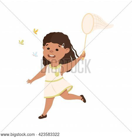 Cute Girl Catching Butterfly With Net, Adorable Kid Leisure Activity Concept Cartoon Vector Illustra