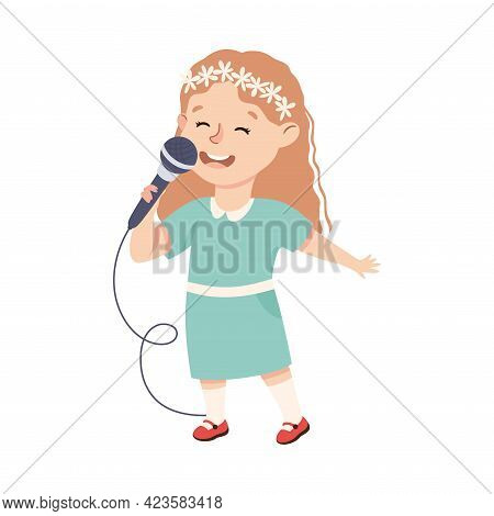 Cute Girl Singing With Microphone, Adorable Kid Leisure Activity Concept Cartoon Vector Illustration