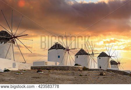 Traditional Windmills, Mykonos Island Landmark At Sunset, Cyclades Greece