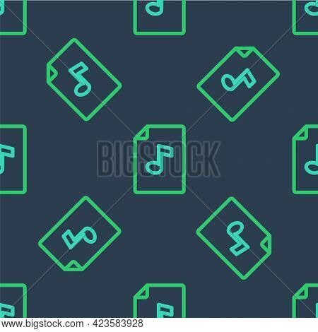 Line Music Book With Note Icon Isolated Seamless Pattern On Blue Background. Music Sheet With Note S