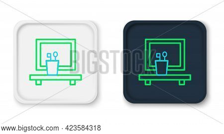 Line Washbasin Mirror Icon Isolated On White Background. Bathroom Interior With A Mirror. Colorful O