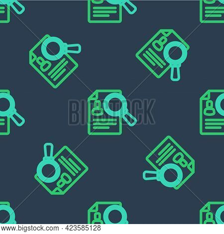 Line Document, Paper Analysis Magnifying Glass Icon Isolated Seamless Pattern On Blue Background. Ev