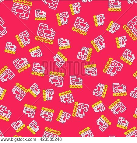 Line Vintage Locomotive Icon Isolated Seamless Pattern On Red Background. Steam Locomotive. Vector