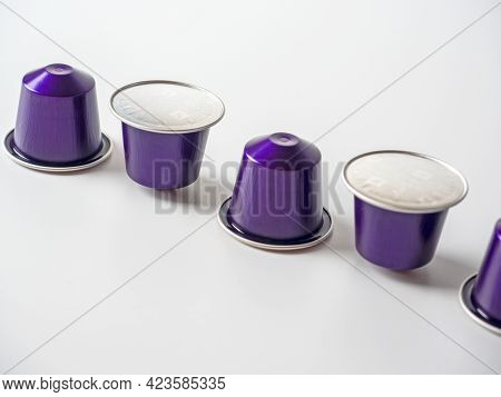 10.03.2021 Russia, Moscow. Aluminum Capsules With Invigorating Ground Nespresso Coffee In Purple Col