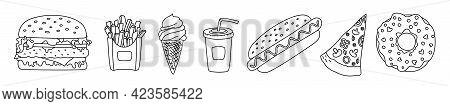 Fast Food Sketch Set. Burger, Hamburger, Cheeseburger, Fries And Ice Cream. Soda, Hot Dog, Pizza And