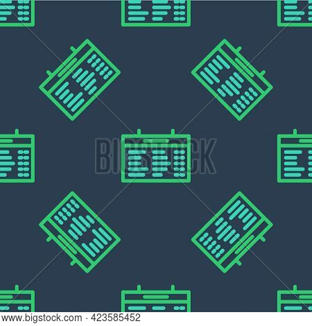 Line Train Station Board Icon Isolated Seamless Pattern On Blue Background. Mechanical Scoreboard. I