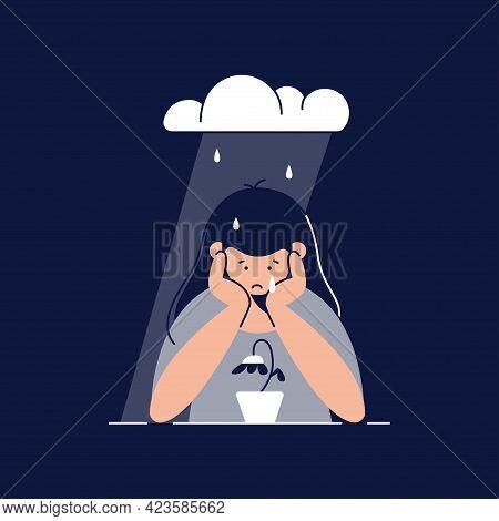 Depression Vector Illustration. Sad, Unhappy Teenage Girl Is Melancholy, In Despair, Sorrow About Sa
