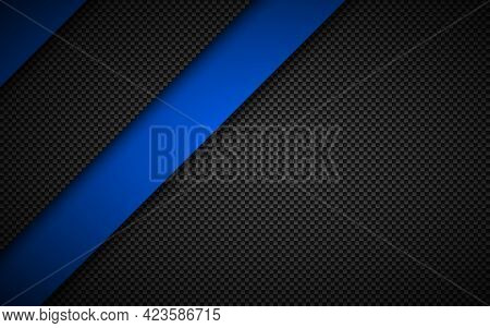 Black And Blue Modern Material Design With Carbon Fibre Texture. Corporate Template With Overlapped