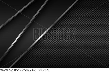 Black Modern Material Background With Diagonal Silver Lines And Carbon Fibre Texture. Design For You