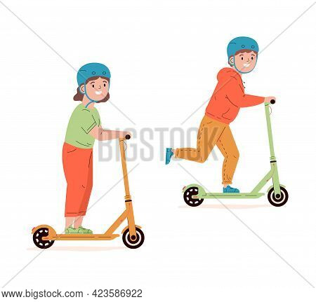 Happy Children In Helmets Ride Electric Walk Scooters. Modern Child Characters Driving Eco Urban Tra