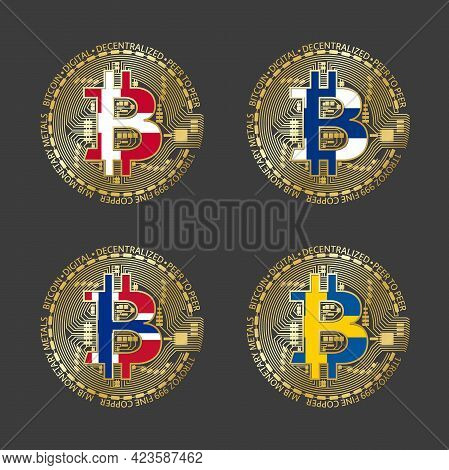 Four Golden Bitcoin Icons With Flags Of Denmark, Finland, Norway And Sweden. Cryptocurrency Technolo