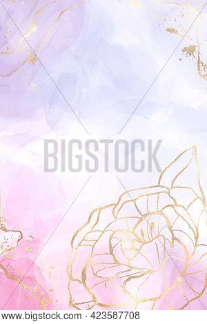 Abstract Lavender Liquid Watercolor Background With Gold Floral Decoration Elements. Pastel Pink Vio