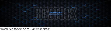 Dark Gray And Blue Horizontal Hexagonal 3d Technology Abstract Vector Background. Blue Bright Energy