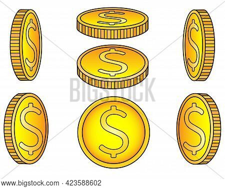 Coins. A Set Of Coins From Different Angles. Abstract Or Game Gold Money Drawn From Different Sides