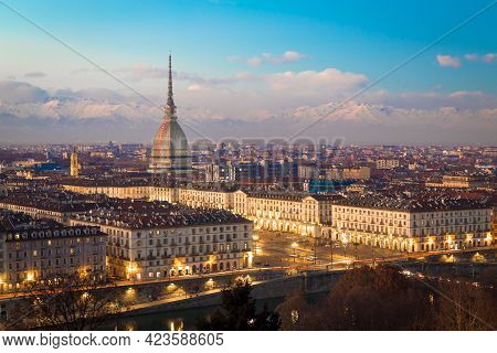 Turin, Piedmont Region, Italy. Panorama From Monte Dei Cappuccini (cappuccini's Hill) At Sunset With