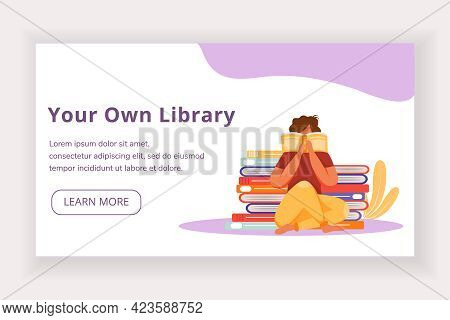 Your Own Library Landing Page Vector Template. World Book Day Website Interface Idea With Flat Illus