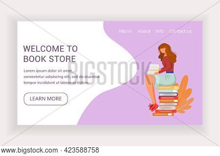 Welcome To Book Store Landing Page Vector Template. Bookshop Website Interface Idea With Flat Illust