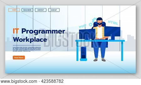 It Programmer Workplace Landing Page Vector Template. Software Development Company Website Interface