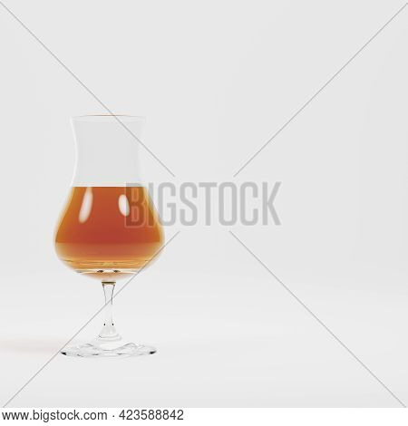 Glass With Alcohol On Bright Background. 3d Render
