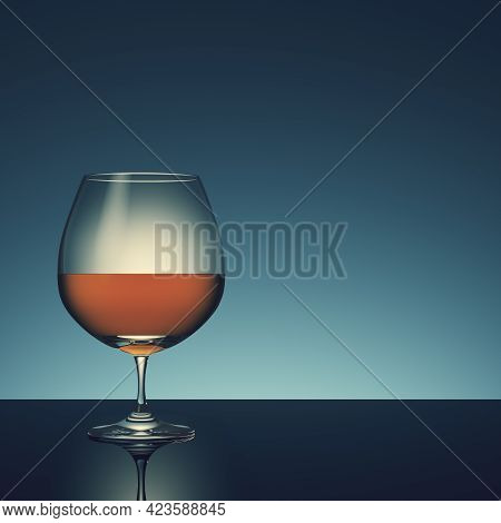 Glass With Alcohol On Dark Background. 3d Render