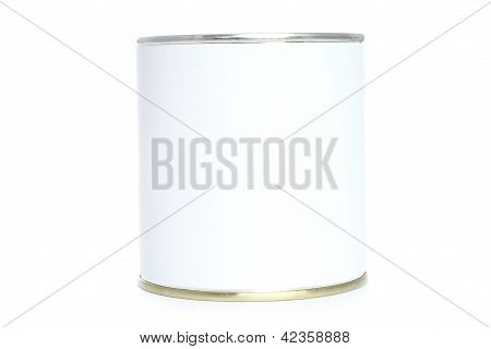 Food tin with white label