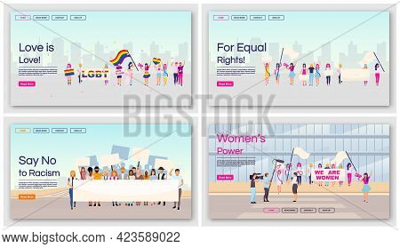 Equal Rights Protests Landing Page Vector Templates Set. Social Movements Against Racial And Gender