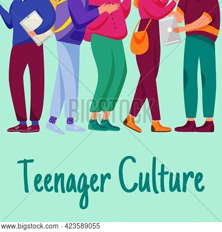 Teenager Culture Social Media Post Mockup. Group Of Students. Advertising Web Banner Design Template