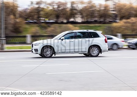 Moscow , Russia - April 2021: Volvo Xc90 Is A Mid-size Luxury Crossover Suv Manufactured By Swedish