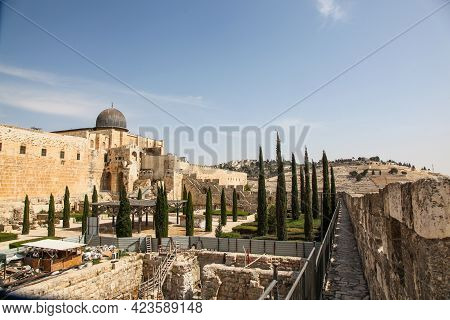View Of Temple Mount And Mount Of Olives From The Walls Of The Old City