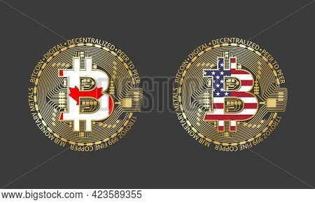 Four Golden Bitcoin Icons With Flags Of Canada And America. Cryptocurrency Technology Symbol. Vector