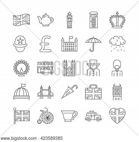 Set Of London, England And Uk Icons Thin Line Icons. Linear Symbols Collection. Set Of Outline Flat
