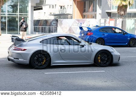 Long Beach, California Usa - April 11, 2021: Grey Porsche 911 Gt3 Rs. Side View.