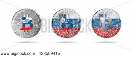 Three Bitcoin Crypto Coins With The Flag Of Slovenia. Money Of The Future. Modern Cryptocurrency Vec