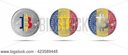 Three Bitcoin Crypto Coins With The Flag Of Romania. Money Of The Future. Modern Cryptocurrency Vect