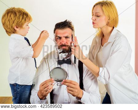 Family Haircut At Home. Beard Care. Beauty And Selfcare At Home Lifestyle. Assistant For Dad.