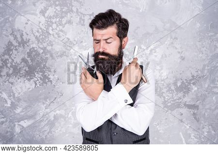 Caucasian Bearded Male Hairstylist With Retro Barber Razor Shaver And Scissors, Hairdresser