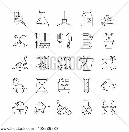 Agriculture And Soil Line Icons. Earth, Compost, Land, Fertilizer, Watering, Flask, Dirt, Test Tube,