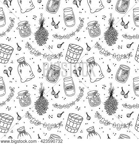 Vintage Home Pantry, Kitchen, Food Supplies Seamless Pattern. Preserves, Glass Jar, Canned Jam, Hone