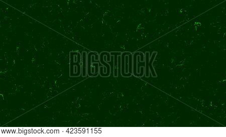 Green Background With Noise And Dust Particles. Animation. Effect Of Failure In Matrix With Green Ba