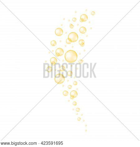 Gold Bubbles Stream. Fizzy Carbonated Drink Texture. Glossy Balls Of Collagen, Serum, Jojoba Cosmeti