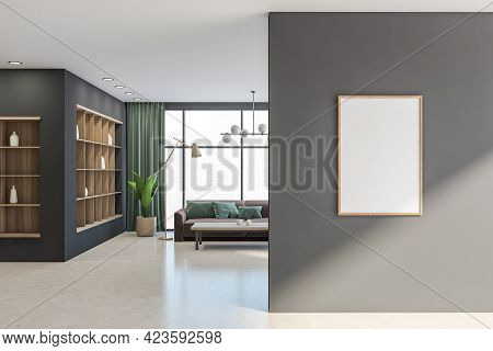 Relaxing Room Interior With Brown Sofa And Lamp, Wooden Coffee Table And Rack With Vase. Copy Space
