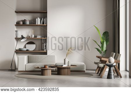 Living Room Interior With Two Chairs And Sofa On Concrete Floor, Lamp And Window. Library, Art Room